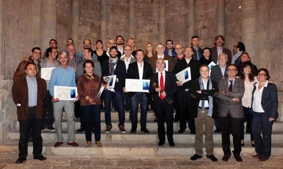 Els guardonats amb els Premis Mosques de la Informació 2013. Foto: Cèlia Atset / CPC Girona