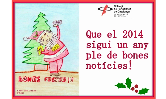 El dibuix que ha fet la Selam inclou elements nadalencs i periodístics.