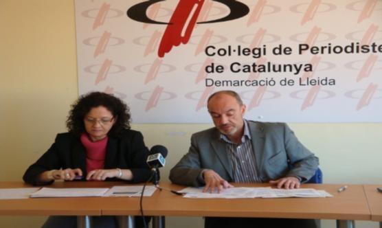 El president del CPC Lleida amb la regidora M. Rosa Ball durant la roda de premsa.
