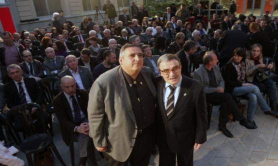 Rafa Gimena i Àngel Ros poc abans de començar la Conferència. Foto: Hermínia Sirvent.