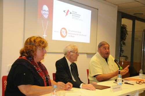 D'esquerra a dreta, Teresa Carreras, Pare Pius-Ramon Tragan i Antonio Franco