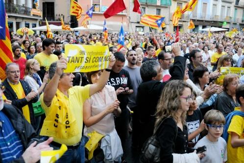 Imatge de la darrera concentració celebrada a Manresa a favor del 9N. (Foto Salvador Redó. Regió7)
