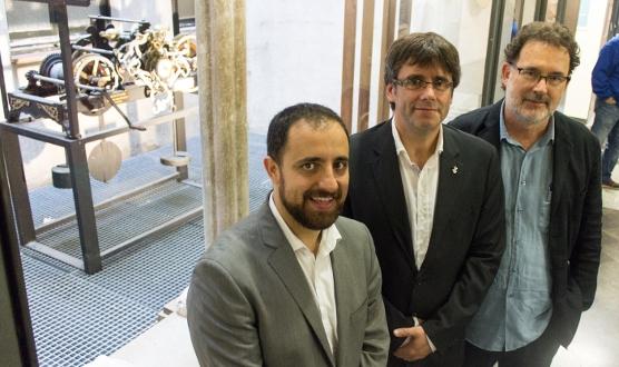 Mohedano, Puigdemont i Ventura, després de presentar la iniciativa.