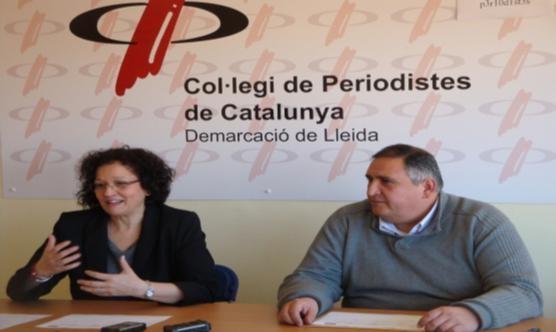 La regidora, a la dreta, i el president del CPCLleida durant la roda de premsa.
