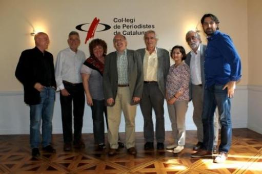 El jurat. D'esquerra a dreta: Tresseras, Mazcuñán, Carreras, Badia, Gifreu, Oliva, Villatoro i Finestres.