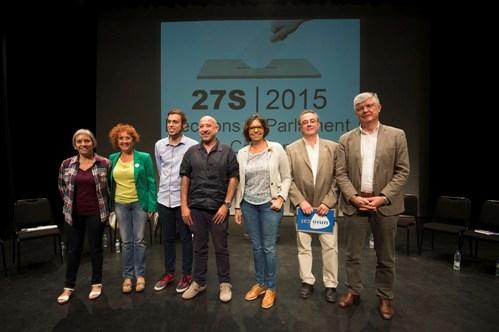 D'esquerra a dreta: Carme Abril, Hortènsia Grau, Jaume Solé, Germà Bel, Bibiana Porres, Antoni Polo i Matias Alonso. Fotos: Joan Revillas
