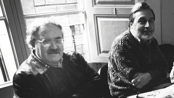 En Pere Madrenys i en Narcís-Jordi Aragó, en unes eleccions del Col·legi de Periodistes.