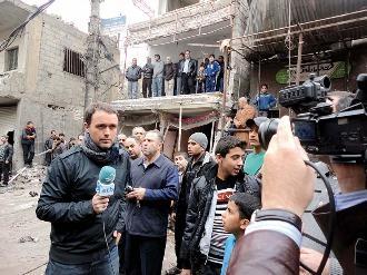 Mikel Ayestaran, d'ETB, a Damasc. Foto: Mikel Ayestaran