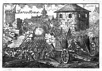 Un gravat del setge austriacista de 1705 quan Barcelona estava sota control dels borbònics