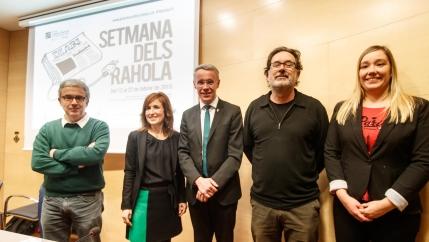 Ramon Girona, M.Àngels Planas, Albert Piñeira, Joan Ventura i Sílvia Sanahuja, en la presentació de la VI Setmana dels Rahola.