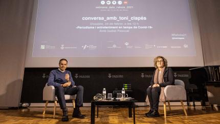 Toni Clapés i Isabel Pascual, abans de començar la conversa.